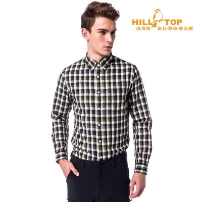 【hilltop山頂鳥】男款吸濕保暖長襯衫C05M20墨綠/深藍格子