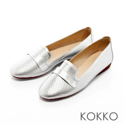 KOKKO-休閒風潮真皮洞洞樂福懶人鞋-科技銀