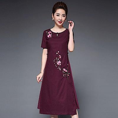 富貴大氣酒紅金紗綢重工刺繡洋裝M~5XL-糖潮