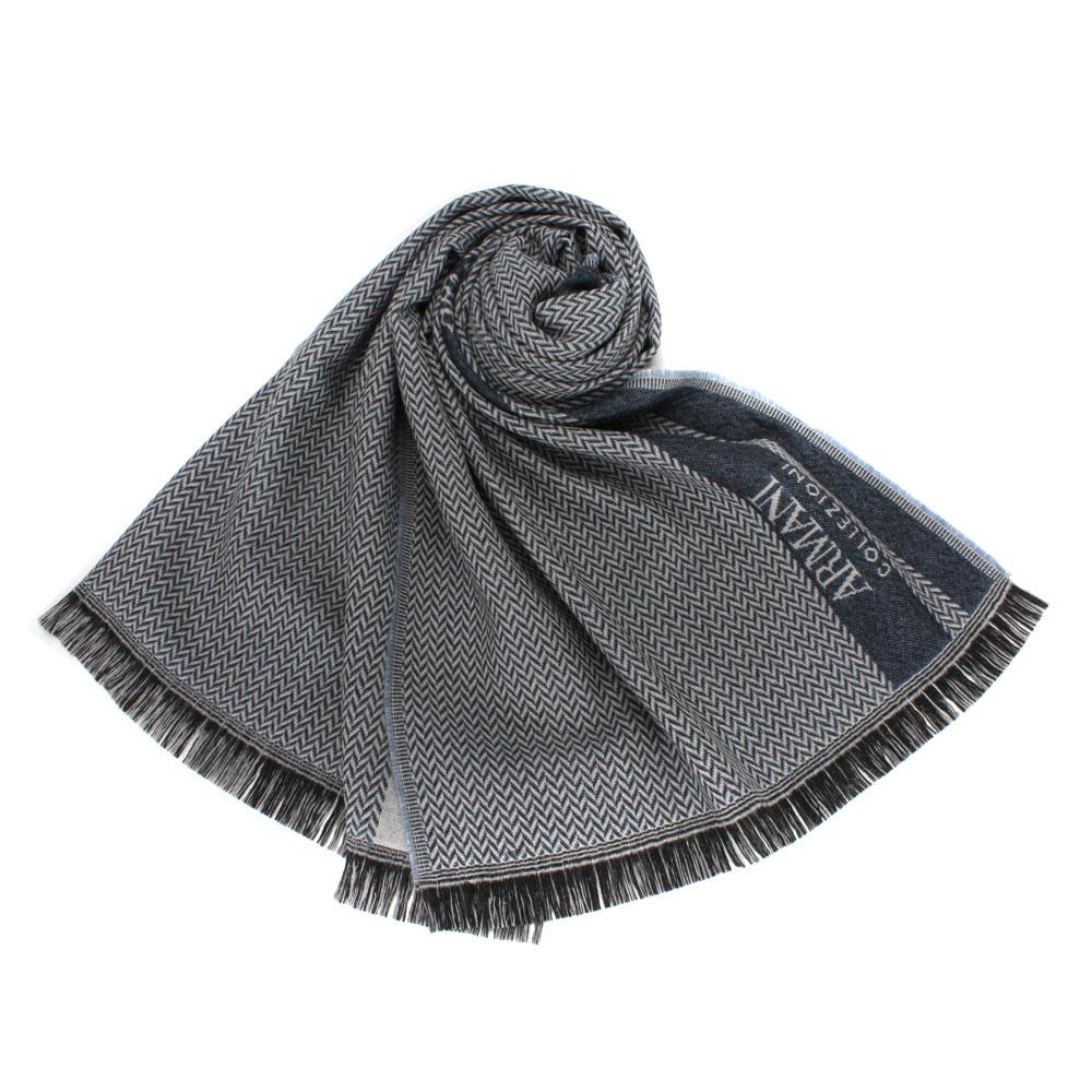 Giorgio Armani 雙色織紋羊毛圍巾-藍