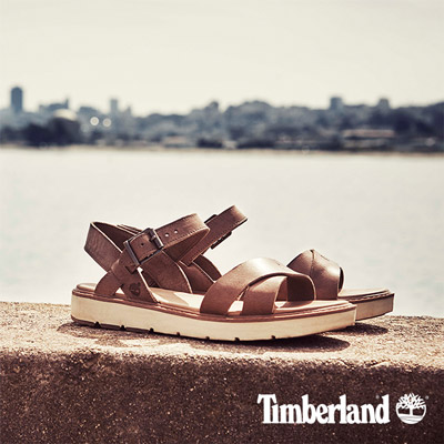 Timberland-女款棕褐色交叉鞋面涼鞋