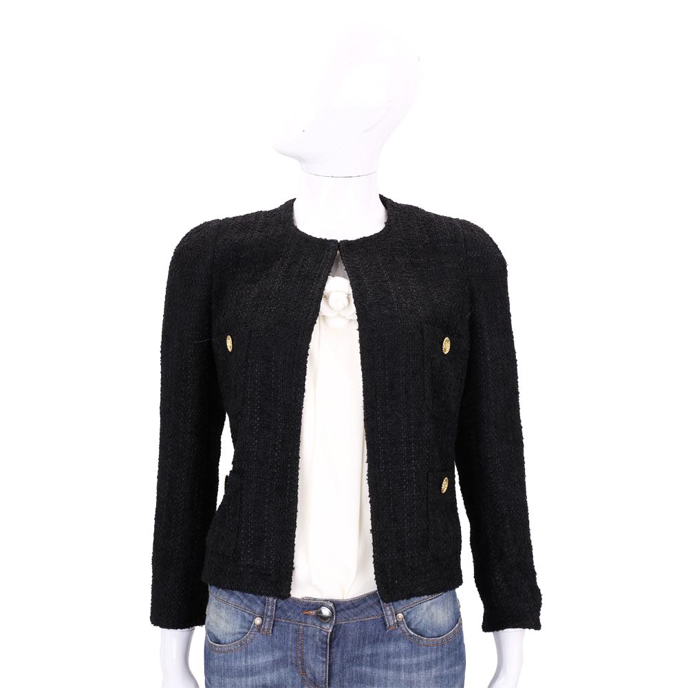 EDWARD ACHOUR PARIS 黑色金釦設計毛呢外套