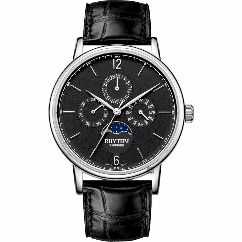 RHYTHM 日本麗聲 都會時尚日月相日期手錶-IP黑/42mm