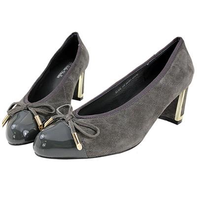 Robinlo Studio 甜美菱格紋羊麂皮尖頭粗跟鞋 灰