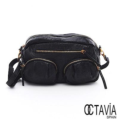 OCTAVIA 8真皮 - 痕跡 揉搓皺羊皮雙口袋二用斜肩背包- 樂黑