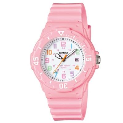 CASIO 迷你潛水運動風指針錶(LRW-200H-4B2)-白x粉紅/32mm