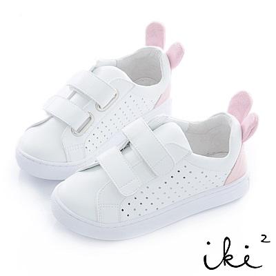 iki2 童鞋 咕妮兔魔鬼粘運動鞋-白