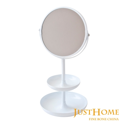 Just Home純白生活雙面桌式立鏡 附雙層置物空間