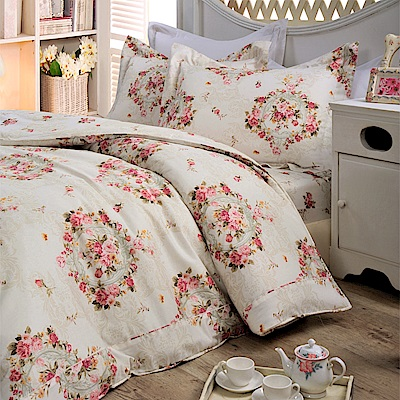 義大利La Belle 瑰麗花園 特大純棉床包枕套組