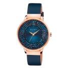ELIXA瑞士精品手錶 Finesse閃耀晶鑽錶面精簡刻度皮革系列 星辰藍 38mm