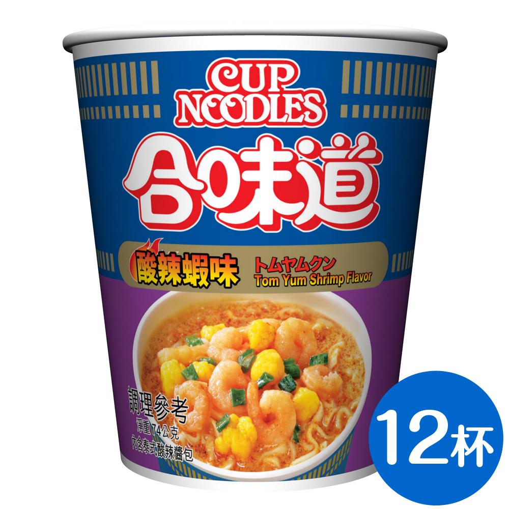 日清 合味道酸辣蝦味杯麵(74gx12杯)
