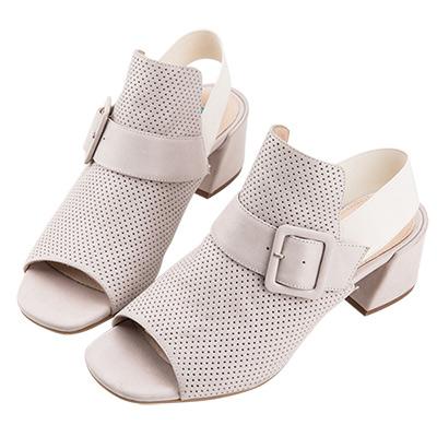 Robinlo Studio 摩登知性沖孔牛皮粗跟涼鞋 白色