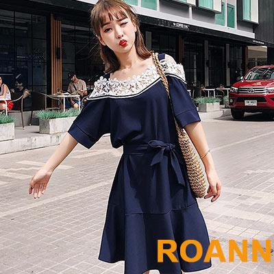 吊帶拼接蕾絲短袖洋裝 (藏青色)-ROANN