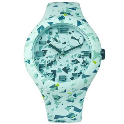 PUMA 繽紛幾何層次運動矽膠腕錶-綠色/47mm