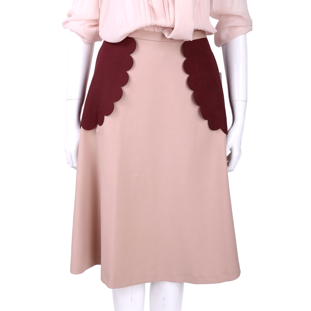 RED VALENTINO 粉色拼接花邊造型中長裙