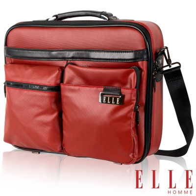 福利品 ELLE HOMME 都會雅痞IPAD/13吋筆電手提/側背公事包- 磚紅色