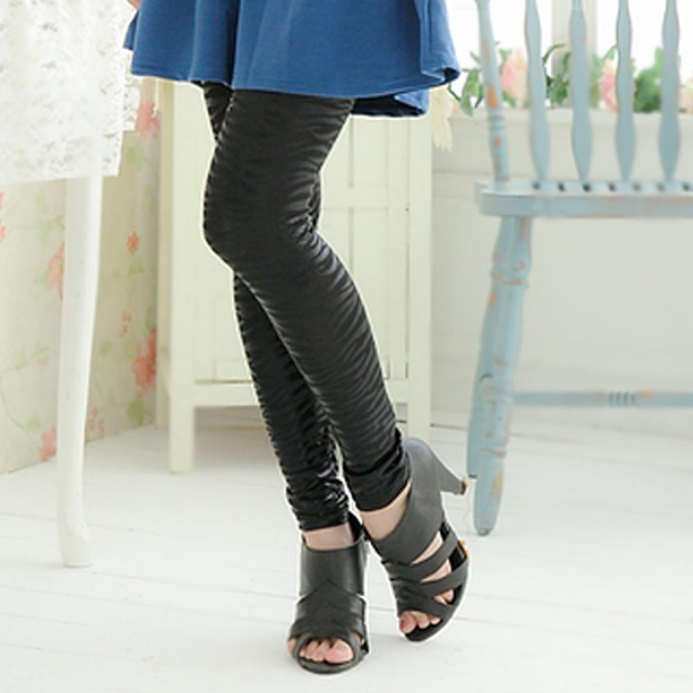 I-shi 韓系簡約斑馬條紋內搭褲