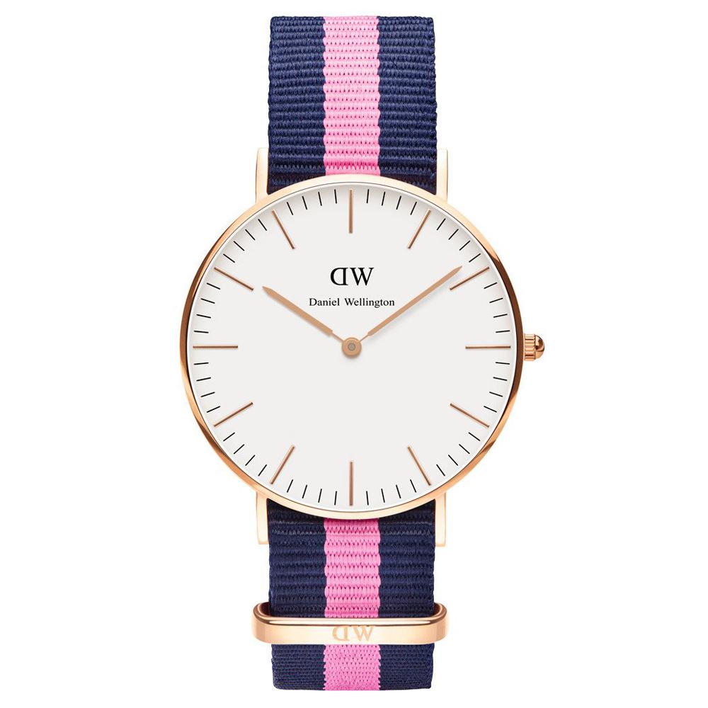 DW Daniel Wellington 經典藍粉紅帆布錶帶(0505DW)-金框/36m