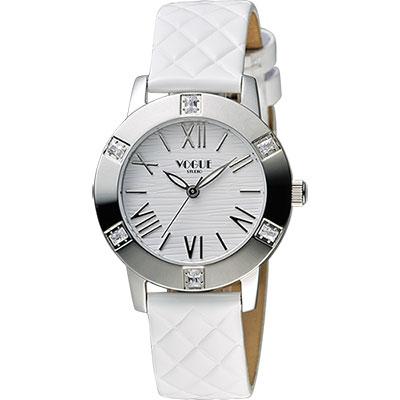 VOGUE 時尚菱格紋羅馬腕錶-白/34mm