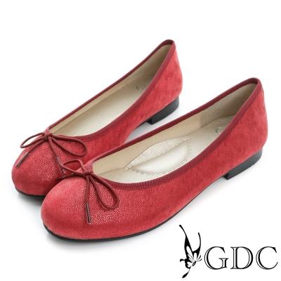 GDC-優雅閃料蝴蝶結圓頭平底娃娃鞋-紅色
