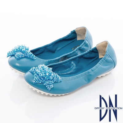 DN 真皮手工 MIT串珠海星牛皮豆豆鞋 藍