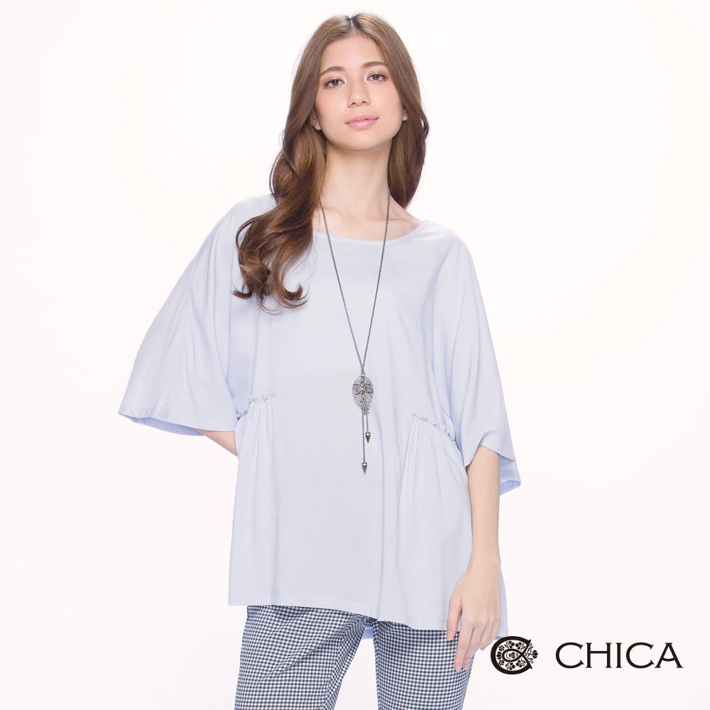 CHICA 浪漫清新五分寬袖設計上衣(2色)