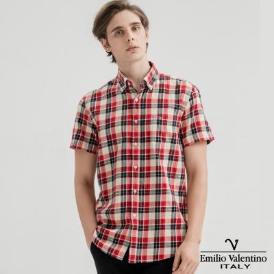 Emilio Valentino范倫提諾水洗格紋襯衫-紅黑