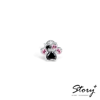 STORY故事銀飾-Pets系列-可愛肉球造型款耳環-白K金黑鑽(單只)