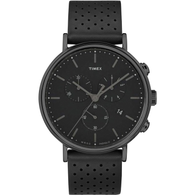 TIMEX 天美時 週末Fairfield 三眼計時手錶-黑/41mm