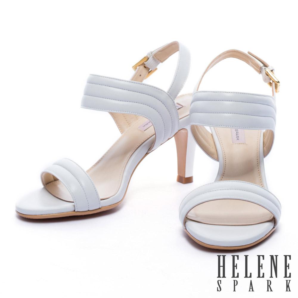 涼鞋 HELENE SPARK 知性風一字羊皮高跟涼鞋-白