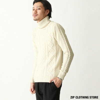 針織高領毛衣 ZIP日本男裝
