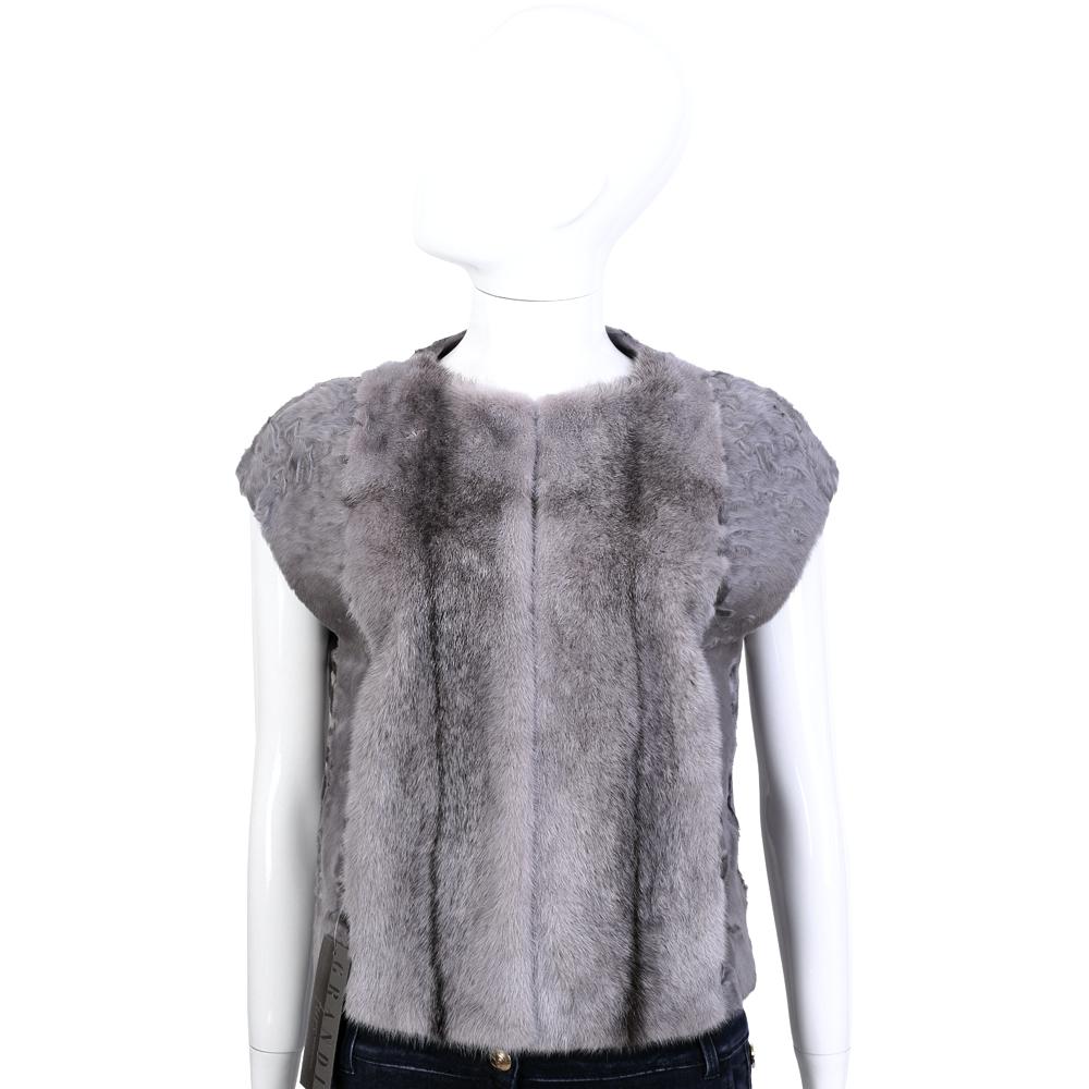 GRANDI furs 灰藕色短袖皮草外套