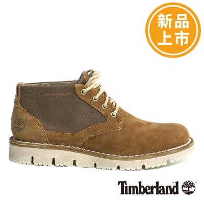 Timberland-男款駝色拼接中筒休閒鞋