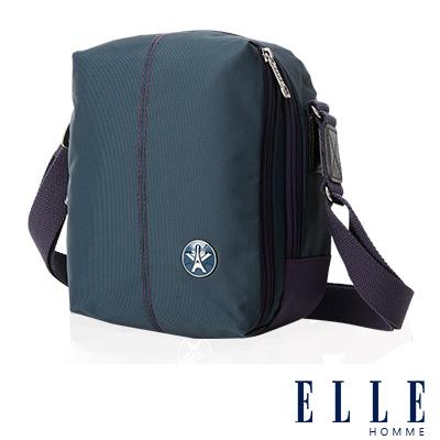 ELLE HOMME 時尚巴黎風格 直立多層置物側背包 輕量防潑水設計-藍
