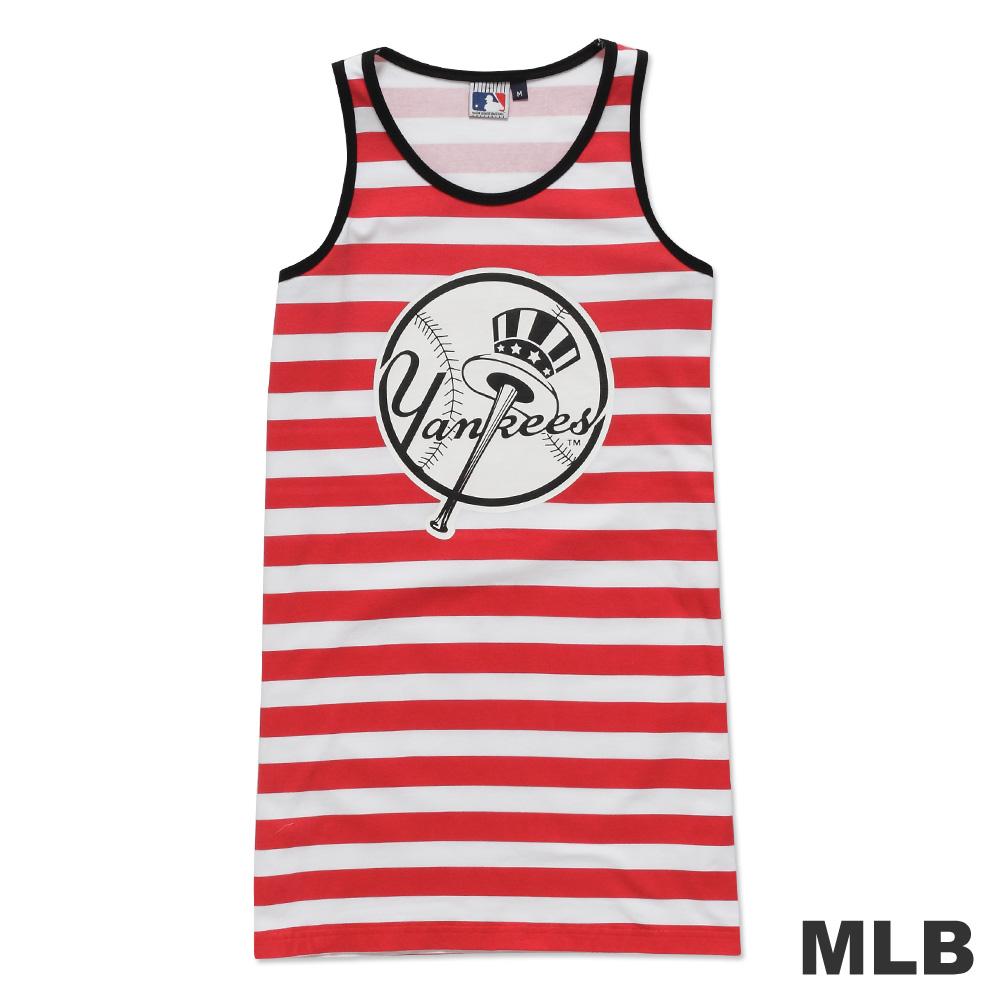 MLB-紐約洋基隊條紋長版印花背心-紅(女)