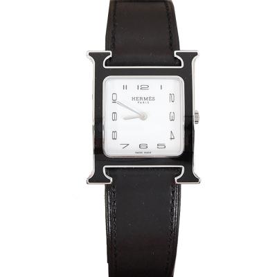 HERMES Heure H小牛皮黑X銀框石英女仕腕錶(黑/26mm)