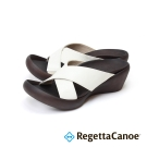 RegettaCanoe-交叉條帶楔型樂步鞋-白色