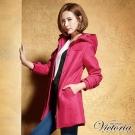 Victoria 修身長版毛呢連帽外套-女-紫紅