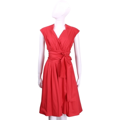 MARELLA 紅色抓褶設計綁帶短袖洋裝