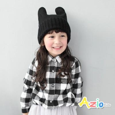 Azio Kids 童裝-上衣 黑白格抓摺縮口棉質上衣