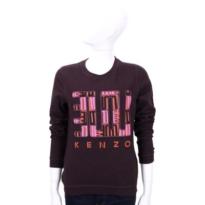 KENZO 紫紅色文字圖棉質長袖上衣