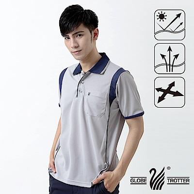 【遊遍天下】MIT台灣製男款吸濕排汗抗UV機能POLO衫S128淺灰