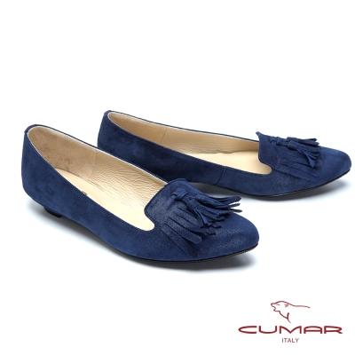 CUMAR台灣製造-經典流蘇羊皮低跟鞋-藍