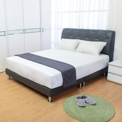 Boden-佩卡5尺灰色皮革雙人床組(床頭片+床底)(不含床墊)