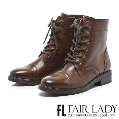 Fair Lady 率性男孩風綁帶牛津短靴 咖啡