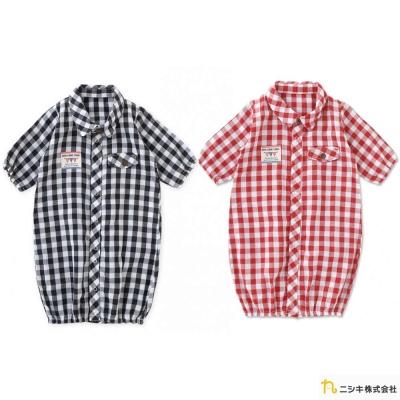 Nishiki 日本株式會社 兩穿式格紋長袖連身衣包屁衣