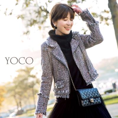 東京著衣-yoco安琪聯名經典小香風毛呢編織騎士外套-(共一色)