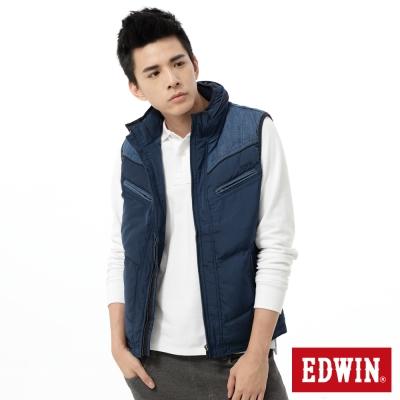 EDWIN-鋪棉背心-牛仔拼接防寒背心-男-黑藍