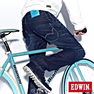 EDWIN 大尺碼窄直筒 E-F袋蓋牛仔褲-男-中古藍