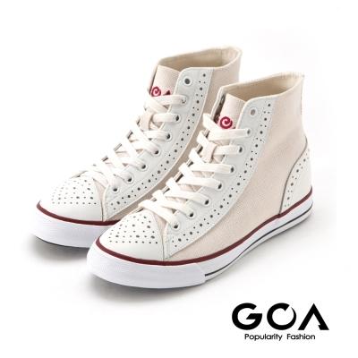GOA 男款經典雕花內增高高筒帆布鞋-白